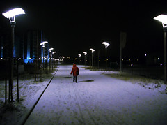 Let The Right One In (f.latjuba) Tags: red snow mystery streetlight europe hungary vampire budapest eu dracula vaciutca magyar danube housingcomplex lettherightonein farishadlatjuba