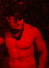 Swallow 079 (danimaniacs) Tags: red shirtless hot sexy pecs hat scarf cowboy nipples arms muscular bare chest handsome hunk mjs biceps navel abs sixpack randyblue chrisrockway
