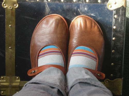 brown campers, striped socks