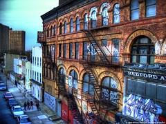 Flushing Ave. (Turnstile Hopper) Tags: new york city nyc ny abandoned up brooklyn trash train fire graffiti j escape hole hell tags m ups abandon ave vacant mta hood elevated vacancy ghetto bushwick throw slum slums fill flushing hoods ghettos