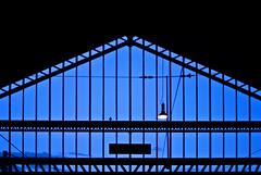 Waiting for the train (janbat) Tags: blue light black france bird architecture train 35mm lampe nikon noir gare bleu f2 d200 nikkor tours oiseau jbaudebert