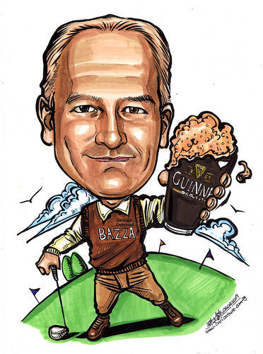 Caricature for Daimler Chrysler Golfer with Guinness