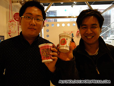 Mark and I with our cup noodles