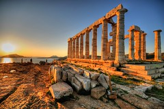 Cape Sounion & the Temple of Poseidon, Greece (5ERG10) Tags: trip sunset sea sun reflection sergio architecture photoshop greek temple ancient nikon king day god stones columns perspective aegean wideangle athens greece tip handheld cape marble byron peninsula poseidon mythology architettura hdr highdynamicrange sounion excursion inscription attica promontory d300 southernmost sounio sunion aegeus 3xp photomatix sigma1020  tonemapping   sonio amiti a 5erg10 akrotrio sergioamiti