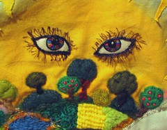 Small World WIP (cymberrain) Tags: trees sun moon color green art sol nature yellow sunrise stars gold soleil countryside rainbow eyes colorful needlework felting embroidery sewing workinprogress tapis wip planet brightcolors needlefelting fiberart applique couture embellished couleur smallworld handstitched celestial celeste creations wallhanging originaldesign fiberarts vividgreen broderie saturatedcolor artsplastiques needlefelted fancywork originalcreation brightcolored smallplanet patchworkfields paintingonfabric couleursvives handsitched fancyneedlework loisirscreatifs stitchbyhand