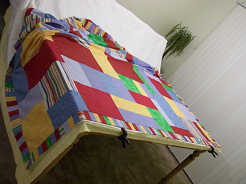 twin quilt ready to baste together