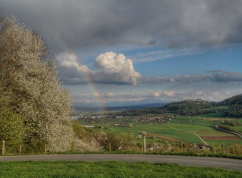 Regensberg mit Alpen und Regenbogen
