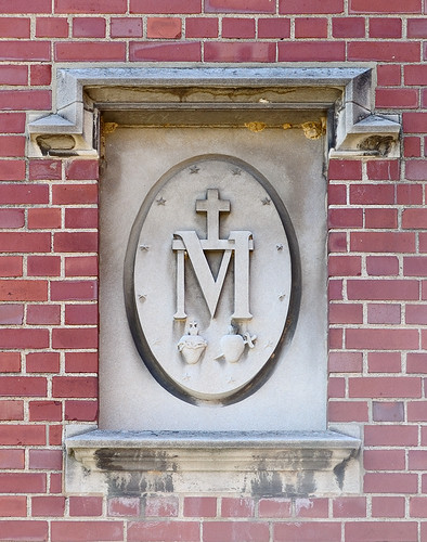Former Daughters of Charity convent, at the University of Missouri - Saint Louis, in Normandy, Missouri, USA - Marian medallion