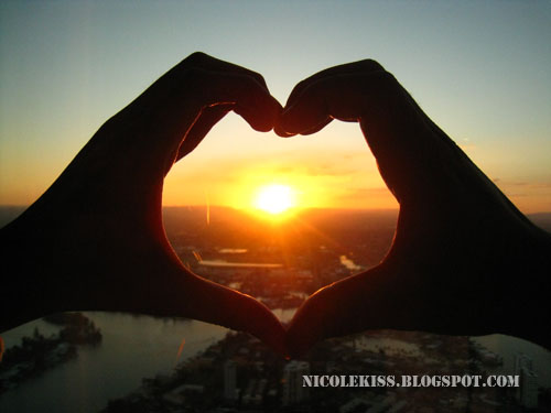 heart shape sunset