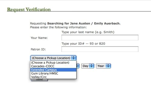 Ecampus request verification screen