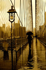 Brooklyn bridge. (madalena.leles) Tags: nyc trip travel usa ny newyork rain sepia america poste tour chuva frias ponte eua brooklynbridge viagem vacations 2009 estadosunidos guardachuva novaiorque novayork over500views nikond300