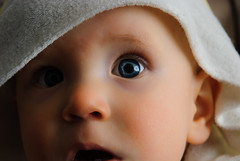 Baby's astonished look (Markku Heikkil Photography) Tags: iris boy people baby male eye boys face finland children nose eyes babies child faces linen blueeyes young towel babe lips babes males towels lip noses pupil pupils astounded astonishment astonished nikond80