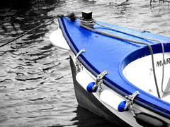Blue rain falls (mktedman) Tags: blue ireland art wet rain boat blackwhite google flickr harbour mark facebook artgroup tedman buoyant flickriver somethingbluecompetitionvoting mktedman marktedman