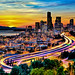 Seattle in Motion at Sunset par Surrealize