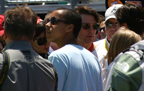 Tom Cruise, Son Connor and wife Isabelle near Jeff Gordons car at Infineon Raceway. Photo Credit: ME