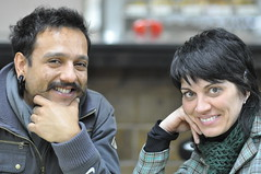Artista Marcelo Monteiro e acompanhante na 3a maratona literaria 022