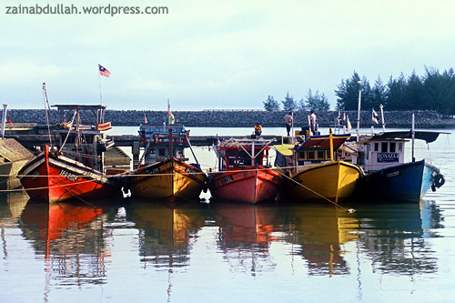 A Row of Colourful Boats. Shot on Fujichrome Velvia 50 circa 2004