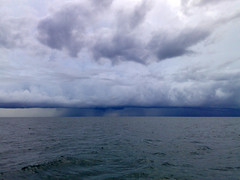 Between The Cloud And The Sea = Rain ? (framptoP - E.V.I.L. Photographer) Tags: sea cloud rain nokia fishing sematan n95 iamflickr