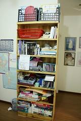bookshelf organizing BEFORE