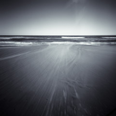 rush (sue.h) Tags: ocean sea 6x6 film beach water mediumformat sand tide australia pinhole 120film lightleak rush newsouthwales toned zero2000 zeroimage iluka convertedtogreyscale