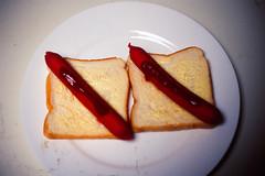 Two Wieners (ccdoh1) Tags: red food film bread lunch prime hotdog kodak sausage slide dirty wiener buttered nikonf2 ektachrome e6 e100vs 50mmf14 nikkors photomic nkj