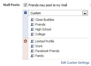 Privacy options for your Facebook wall posts