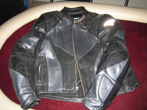Teknic Black/Silver perforated leather jacket size 48, $65 shipped