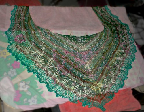 Knitted beaded lace handspun silk Aeolian shawl from Knitty online knitting magazine