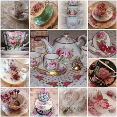 ~Time for Tea~ (eg2006) Tags: china old roses party england black france green cup floral beautiful vintage germany table pretty purple tea lace antique mosaic cottage lavender stack teapot violets chic dishes collectible teacup jadite decor saucer spoons limoges paragon teaspoon americanbeauty hanky shabby demitasse haviland jadeite royalalbert americanbeautyroyalalbert orleansroseparagon