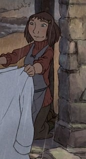 """L'illusionniste""'s Alice, a small, blunt-cut-brown-haired young girl with dark clothes and an apron, washes a white shirt in a lake while it rains. Image via empireonline.com."
