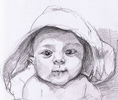 Daan (2009) (annevancamp) Tags: portrait baby art pencil sketch blackwhite artwork drawing draw tekening schets potlood