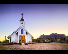 Early morning service ... (Rob Overcash Photography) Tags: longexposure morning light arizona color museum sunrise canon hdr sonorandesert tontonationalforest tokina1224f4 50d pscs3 apacheland 7exposure dphdr elvispresleychapel robotography superstitionspringsmountains robovercashphotography