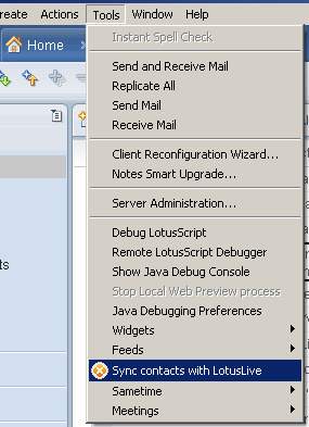 Envoking the Notes Contacts Sync to LotusLive in Lotus Notes 8.5
