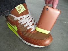 Copper + Fluorescent Green (Incase.) Tags: green apple shoe air nike 3g fluorescent copper sneaker airmax iphone majortaylor incase airmax90 am90 flapple iphone3g slidercase