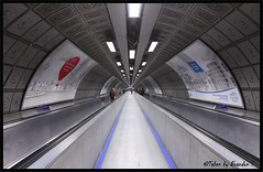 Waterloooooooooooooo Station (Mix Master B) Tags: blue red london metal silver subway perspective tunnel londonunderground f28 ef2470mmf28lusm tunnelvision waterloostation lserieslens waterlootubestation brandonswartz canon5dmkii mixmasterb unusualviewsperspectives