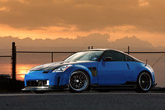 Leguna Seca Blue Carbon Fiber 350Z (_jvns) Tags: blue sunset airport bush texas nissan image houston bmw z carbon fiber m3 seca 350z intercontinental iah vq nismo pristine fibre leguna