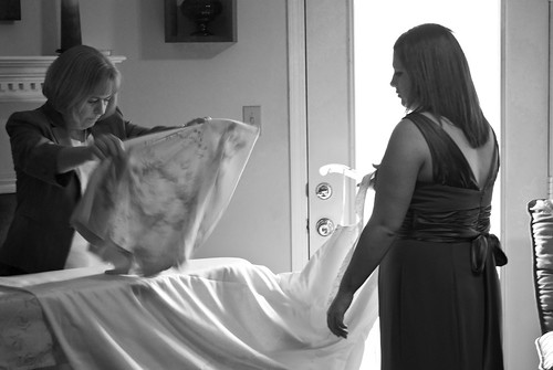 Mom and Lacy ironing wedding dress