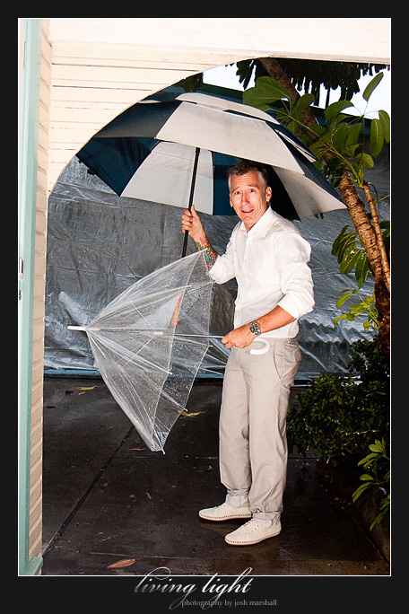 It's raining, can you tell? Wedding photography from Tea Gardens.
