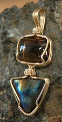 Labradorite w quartz (Nature's Touch) Tags: gold handmade jewelry pendant labradorite smokeyquartz goldfilled wirewrapped