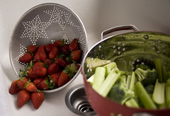 Grocery Day (Casey Fox) Tags: vegetables fruit sink strawberries broccoli delicious celery colander
