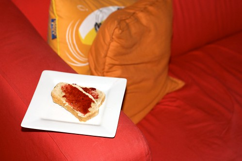 homemade wholemeal bread with nuttelex and strawberry jam