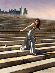 Cinderella's Dream (Nika Fadul) Tags: castle fairytale stairs silver hair dawn shoes blow cinderella cinderela partydress monicafadul nikafadul