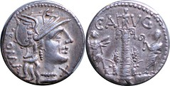 242/1 #0917-38 C.AVG Roma Columns with statue and two figures Denarius