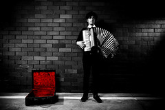 accordion (42f) Tags: red blackandwhite music canon moving interesting bricks deep accordian epic alienbees krismurray