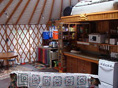 yurt kitchen dining area (coyurtco) Tags: green yurt sustainable yurts enviornmentallyfriendly simplelifestyle coloradoyurt