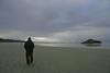 He walks alone (ladydipim) Tags: ocean beach clouds vancouverisland longbeach ripples westcoast mywinners ultimateshot goldstaraward