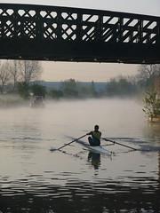 rower + tug (little_auk) Tags: mist sunrise river walthamstow rnblea