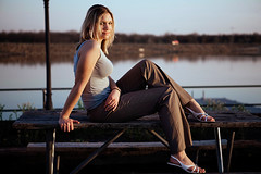 Hannah_21 (BrianRicePhoto) Tags: park sunset woman lake girl pond model flash hannah blond tanktop umbrellas picnictable pocketwizards speedlites canon430 canon580