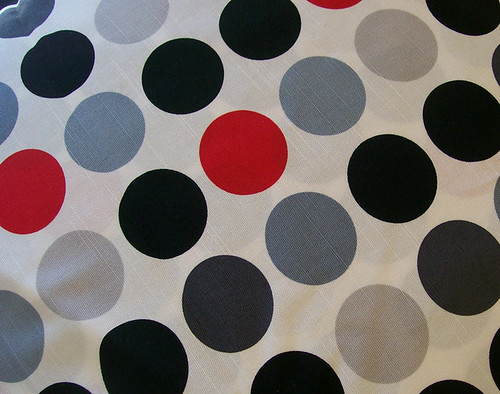 red, black dot linen fabric