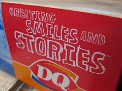 DQ box says Creating Smiles and Stories